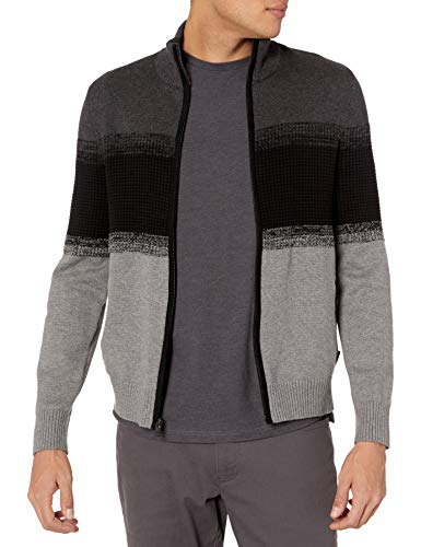 Calvin Klein Men's Lightweight Zip Up Weekend Layered Sweater, Gunmetal Heather, Large