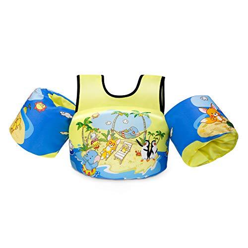 Giacca da Nuoto per Giubbotto di Galleggiabilità-Gilet da Allenamento per Nuoto per Bambini e Ragazzi-Giacca da Galleggiamento per Bambini da 2 a 5 Anni Ausiliaria con Maniche a Braccio, 14-30 KG