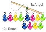 Enten-Angeln mit 12 bunten Enten + 1 Holz-Angel