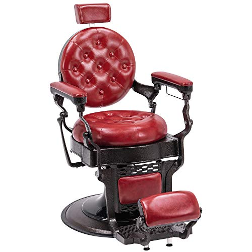 BarberPub Vintage Barber Chair Heavy Duty Metal Frame All Purpose Hydraulic Recline Salon Beauty Spa Equipment 2947 (Red)