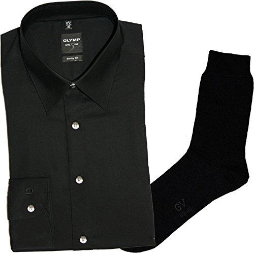 OLYMP Herrenhemd Level Five, Body fit, extra Langer Arm, New York Kent, schwarz + 1 Paar hochwertige Socken