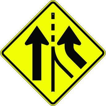 Added Lane Traffic Symbol – Popular Max 79% OFF Warning Sign 3 Units
