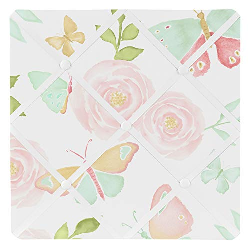 Sweet Jojo Designs Blush Pink, Mint and White Watercolor Rose Fabric Memory Memo Photo Bulletin Board for Butterfly Floral Collection
