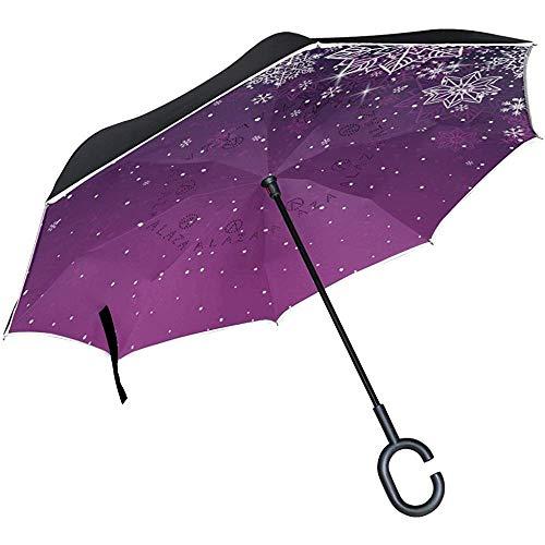 Mike-Shop Umgekehrter Regenschirm-Auto-Rückseiten-Regenschirm-Schneeflocken für Weihnachtswindundurchlässigen UVbeweis-Reise-Regenschirm im Freien