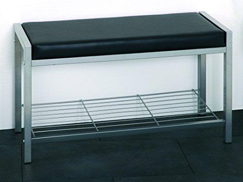 PEGANE Banc en Tub d'acier Coloris Alu-Noir, Dim : L80 x P32 x H48 cm