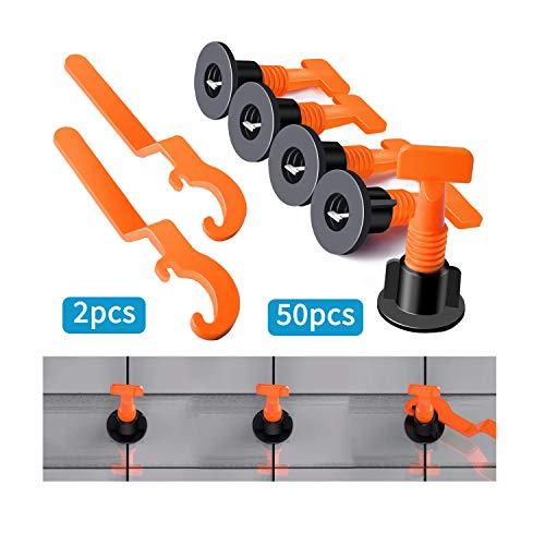 HOWATE Kit de sistema de nivelación de baldosas con espaciadores de nivelación de baldosas de 50 piezas, 2 llaves, kit de herramientas de instalación de baldosas reutilizables
