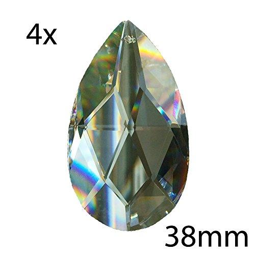 4X Kristall Wachtel 38mm Regenbogenkristall Feng Shui spirituelle Lichtblitze 30% Bleikristall Kronleuchter Behang Kristallsteine