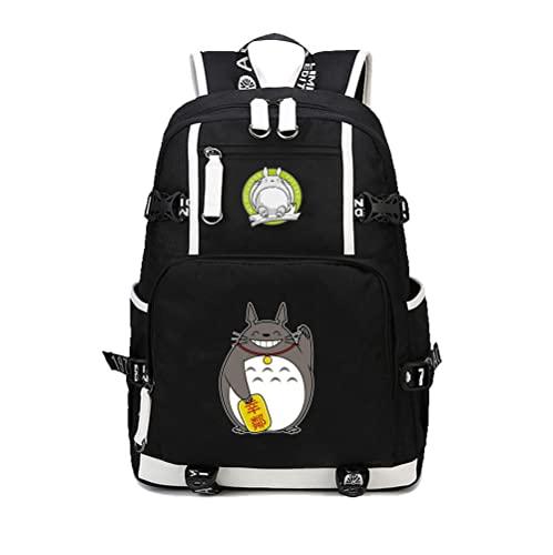 ZXXFR Mochila bolsos Anime My Neighbor Totoro Estudiante Masculino Y Femenino Adolescente Mochila Mochila Negro senderismo portatil ordenador instituto escolares juveniles bolso