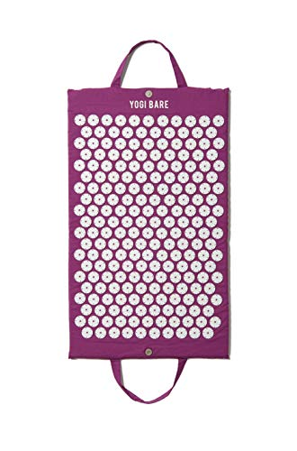 Yogi Bare Acupressure Mat - Neck and Back Massager - Stress and Muscle Pain Relief Therapy - Relives Sciatic, Headaches and Aches at Pressure Points - Natural Sleeping Aid - Purple