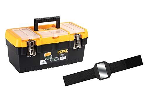 PEREL Caja de herramientas de plástico con soporte en práctico set con la pulsera magnética Easy Work.