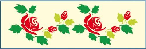 Bordüren-Schablone von Mako # Motiv: Rose # Größe: 12 x 36 cm