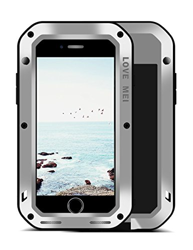 LOVE MEI Aluminium Metal Case for iPhone 8 iPhone 7 Gorilla Glass Military Grade Bumper Frame Heavy Duty Cover Shell for Apple iPhone 8 iPhone 7(Silver)