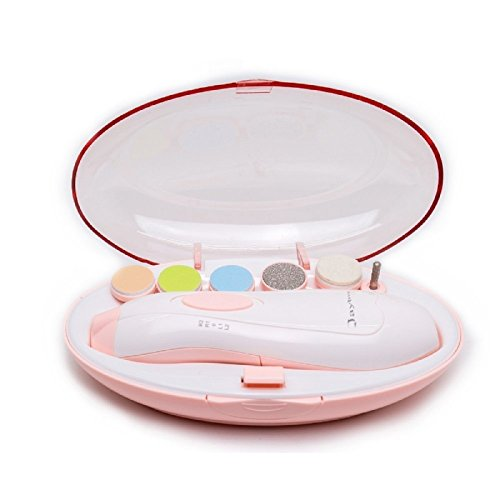Elektrischer Nageltrimmer für Babys, Nagelfeile von Jaybva, elektrisch, sicher, automatisch, für Neugeborene, Kleinkinder, Zehen, Fingernägel, Pflege, mit Ersatz-Aufsätzen