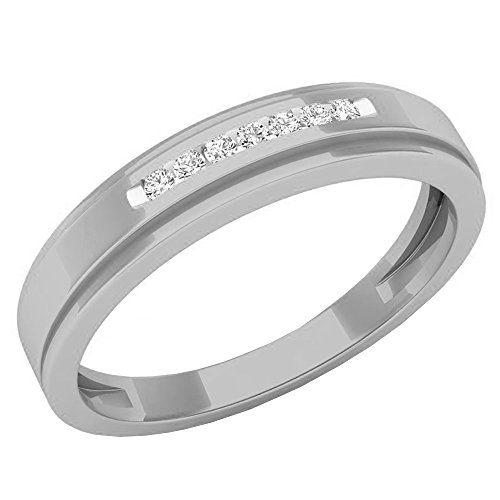 Dazzlingrock Collection 0.07 Carat (ctw) 10K Round White Diamond Men's Anniversary Wedding Band, White Gold, Size 10