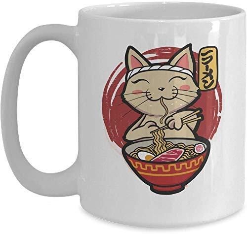 N\A Cat and Ramen Lover Gift - Japanisches Geschenk, Kawaii Anime Ramen Cat - Weiße Kaffeetasse für Weihnachten Thanksgiving Festival Freunde Geschenk Geschenk