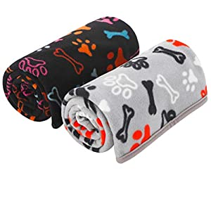 SCENEREAL Dog Blanket Pet Bed Mat 2 Pack – Fluffy Polar Fleece Super Cozy Fuzzy Pet Blankets Lightweight Washable for Puppy Cats Small Dogs Indoor