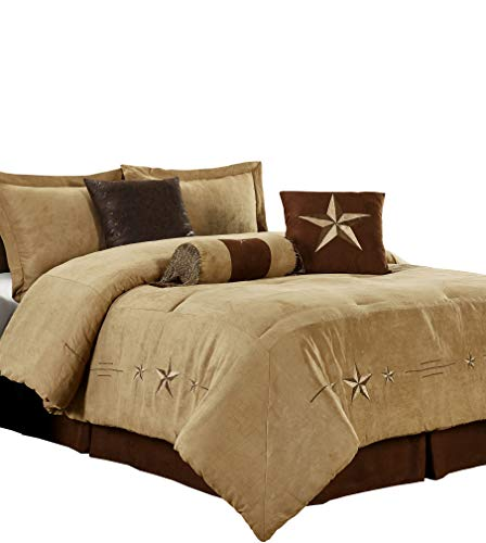 Chezmoi Collection 7 Pieces Western Star Embroidery Design Microsuede Bedding Oversized Comforter Set (Queen 92