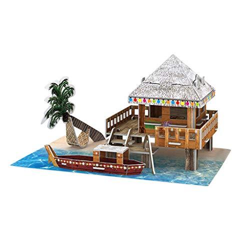 Yowablo Spielzeug Puzzle DIY Haus 3D Villa Kinder Jungen Mädchen Pädagogisches Haus Papier Puzzle ( 20*13.5*11.7cm,D )