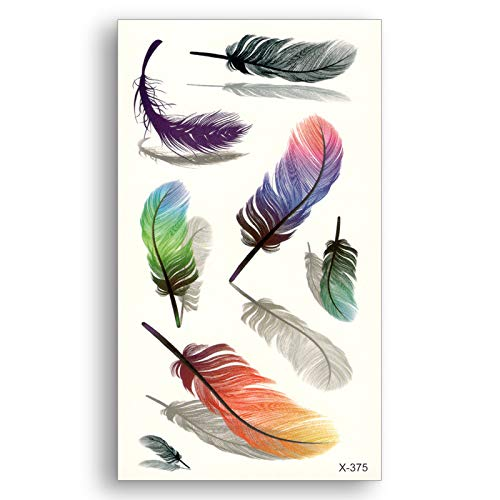 Colored Feather Water Transfer Fake Tattoo Disposable Waterproof Temporary Stickers Beauty Women Girl Body Art Makeup