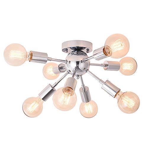 OYIPRO Lámpara de techo Moderna, Plafon Techo 8-Lámparas Satélite, Base de lámpara E27, Metall Cromo, para Comedor, Salón, Cocina, Oficina