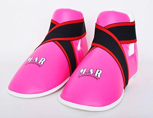 M.A.R International Ltd. Halbkontakt-Fußschutzstiefel, für Kampfsport, Karate, Taekwondo, Boxen, Kickboxen, Thaiboxen, MMA, Muay Thai, Pink, für Kinder, Größe S