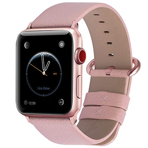 watch with pink bands Fullmosa Compatible Apple Watch Band 38mm 40mm 42mm 44mm Leather Compatible iWatch Band/Strap Compatible Apple Watch SE & Series 6 5 4 3 2 1, 38mm 40mm Peach with Rose Pink Buckle