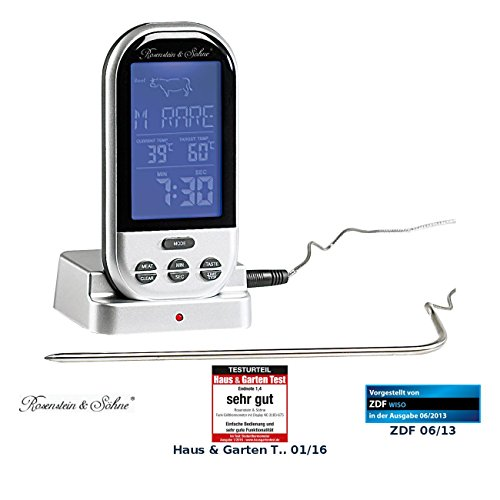 Rosenstein & Söhne Funk-Grillthermometer mit Display NC-3183-675