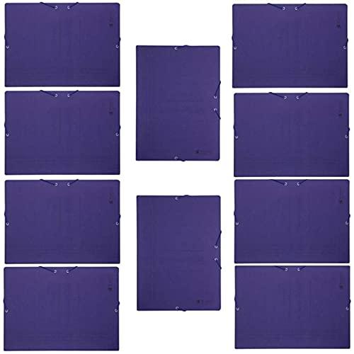 Pack de 10 carpetas de cartón de 34 x 25 cm, tamaño folio, con gomas y solapas, de color azul. Juego de 10 carpetas para guardar papeles, ideal para el hogar, oficina o colegio