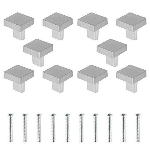10 cajones de puerta con tirador de 25 x 25 mm para cajones, cuadrados, pomos de muebles, único agujero para cajón, armario, decoración de puerta de armario (plata)