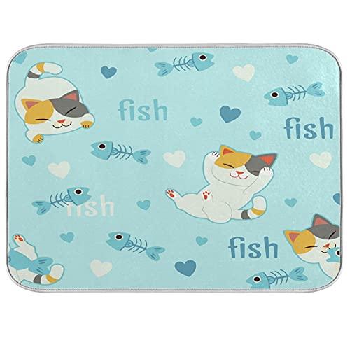 Söt katt älskar fiskben tallrik torkmatta absorberande vändbar matta för köksbänk 40 cm x 45 cm