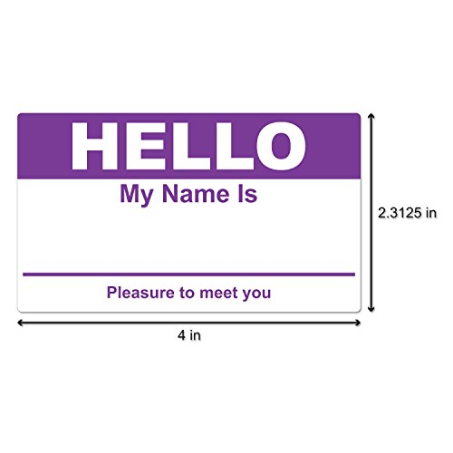 """Hello My Name is Stickers Labels Nametags Visitor Sticker Badges Write on Adhesive Color Simple Basic Blank [Purple] -2-5/16"""" x 4"""" Inch 100 Stickers Labels per Roll Photo #2"""
