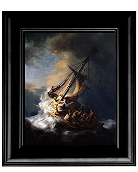 Artist Peter Nowell 16 x 20 Framed SEA of Galilee by Rembrandt on Canvas Jesus in The Boat Calming The Storm