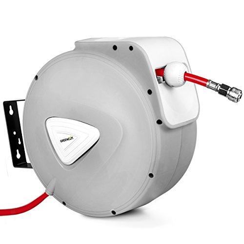 GREENCUT MNA200 - Manguera de aire comprimido de 20m con enrollador automatico, soporte de pared y presion de trabajo 18bars