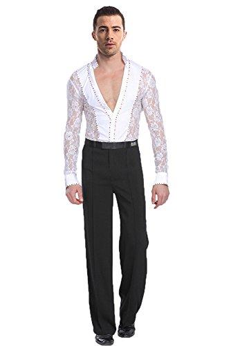 BOZEVON Herren Klassiker Latein Tanz Hemd Anzug Kostüme Performance Tanzen Spitze Hemd & Hose Jazz Outfits, Weiß(Set), Tag S = EU XS