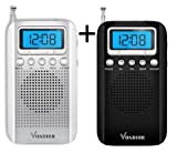 Black and Silver Digital AM FM Portable Pocket Radios with Alarm Clock- Best Reception and Longest Lasting. AM FM Compact Radio Player Operated by 2 AAA Battery, by Vondior