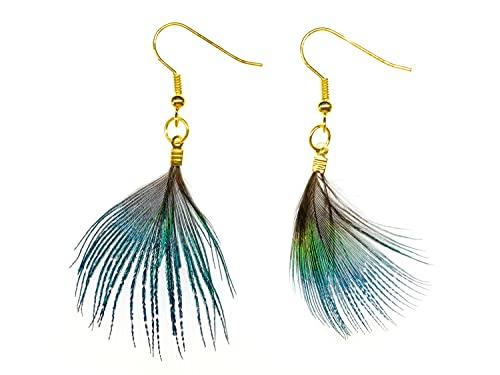 Aretes banado hechos a mano de joyería de moda pendientes I Pendientes - pendientes plumas de pavo realpendientes penos animales aves de plumas de pavo real pajaros verdes