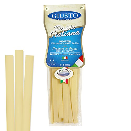 Giusto Sapore Italian Pasta - Pappardelle 454g - Premium Organic Bronze Drawn Durum Wheat Semolina