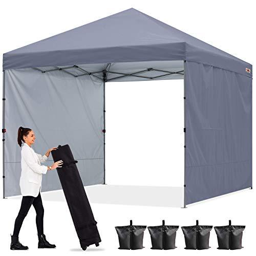 ABCCANOPY Gazebo pop-up 2,5 x 2,5 m con due pareti solari, completamente impermeabile, per uso commerciale, borsa con ruote, 4 picchetti