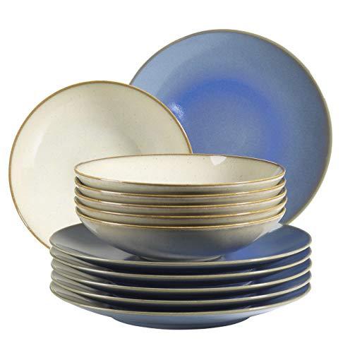 MÄSER 931557 Ossia - Juego de platos para 6 personas con aspecto vintage mediterráneo, 12 piezas, vajilla moderna con platos hondos en color gris arena y platos llanos en color azul claro
