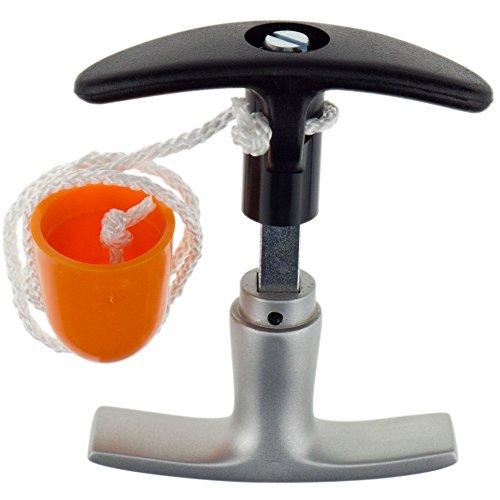 Garagentorgriff 9x60 mm Alu F1 + Innengriff Garagentor Kunststoff, 50cm Seil + Glocke