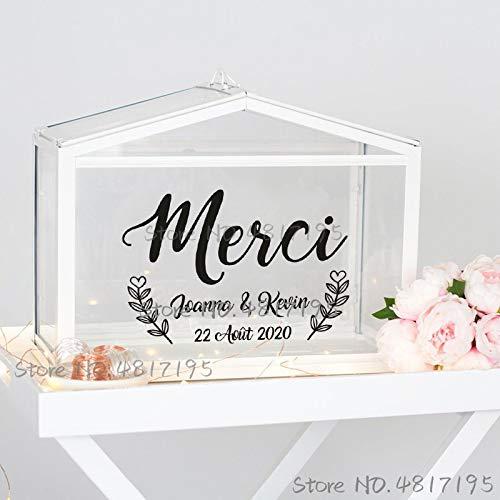 sanzangtang Hochzeitskarte und Geschenkbox Vinyletikett personalisierter Text Name Aufkleber personalisierte Hochzeit Kunstdekoration,33x22cm