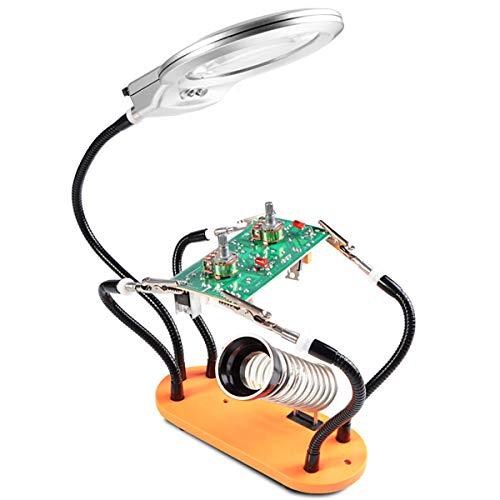 GZMDE - vergrootglas 4X 6X loeplamp Third hand soldeergereedschap houder voor knutselsieraden hobby werkbank helping station antislip onderlegger