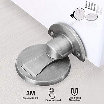 Magnetic Door Stop, Invisible Magnetic Door Stopper,Brushed Satin Nickel,Floor Metal Magnet Door Catch Door Holder with 3M Adhesive,Stainless Steel Doorstop Heavy Duty Silver