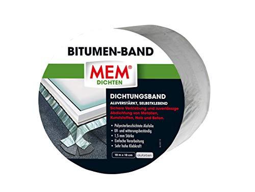 MEM 30836035 aluverstärktes Dicht selbstklebend-Abdichtung u. Reparatur-Metalle, Kunststoffe, Holz, Beton-hohe Klebkraft Bitumen-Band alu 10 cm x 10 m