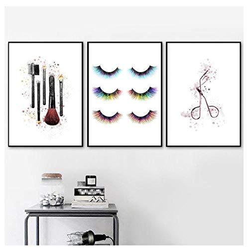 kaxiou Vogue meisje make-up borstel wimper krultang muur kunst canvas schilderij Scandinavische affiches en drukt muur foto's voor woonkamer decor-40X60Cmx3 Stks geen frame