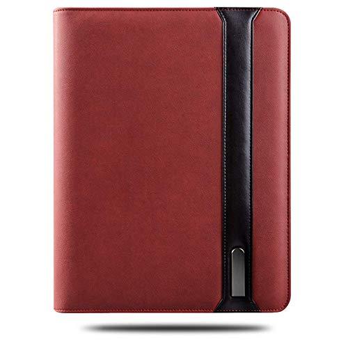 Business Folder A4 Multifunctional Wireless Charging with Zipper File Folder Mobile Power Laptop Notebook Power Binder Spiral Diary + 8G U Disk,Brown
