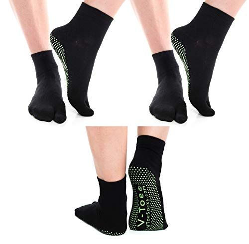 3 Pairs V-Toe Nonskid Ankle Flip-Flop VToe Tabi Big Toe Yoga Style Socks