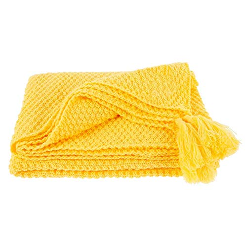 BAJIAN-LI Manta de punto, muy suave, con borlas, cálida, cómoda, lavable, ligera, mullida, para sofá, cama, silla, coche, oficina, viajes, etc.
