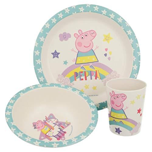 Peppa Wutz Pig Frühstücks-Set Geschirr-Set 3-tlg. Bambus Öko Bio BPA-FREI