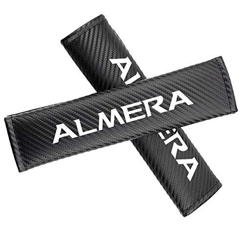 2pcs Almohadillas De La Cubierta del Hombro del CinturóN De Seguridad, Cuero Suave del CojíN del Acolchado De La Fibra De Carbono del Confort, para Nissan Almera